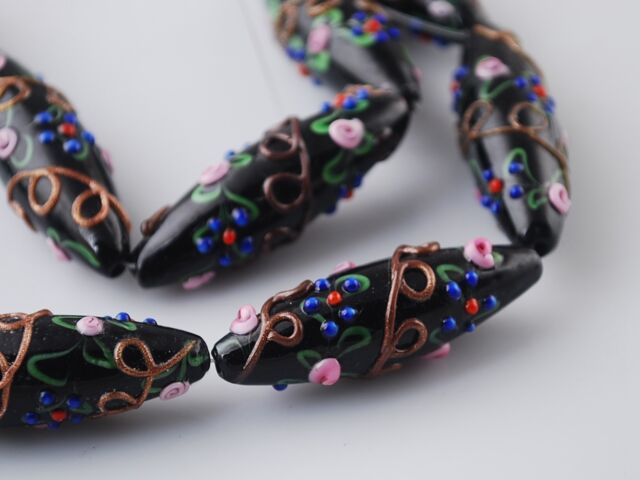 2pcs Handcraft Flowers Lampwork Glass Oval Loose Spacer Beads 43x15mm Black