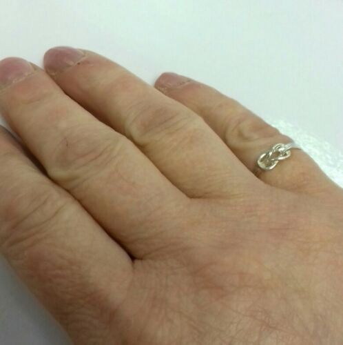 BRAND NEW Sterling Silver Double Knot Ring Plain UK Sizes J//K//L//M//T