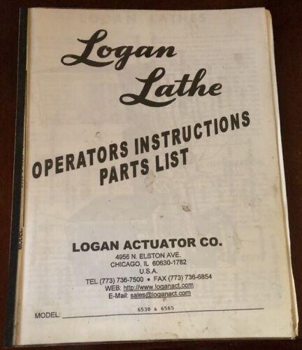 6530 /& 6565 Logan Lathe Instruction /& Parts List For Model No