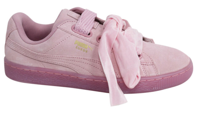 the latest b6481 0e361 Puma Suede Heart Reset Lace Up Pink Leather Womens Trainers 363229 02 Q7D