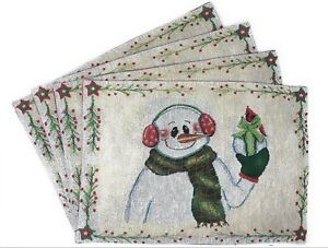 DaDa-Bedding-Magical-Snowman-Placemats-Set-of-4-Festive-Tapestry-13-x-19