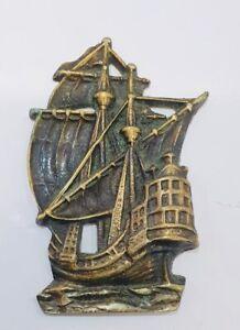 Vintage-Brass-Ship-Plaque-Decorative-Collectable-Ornament