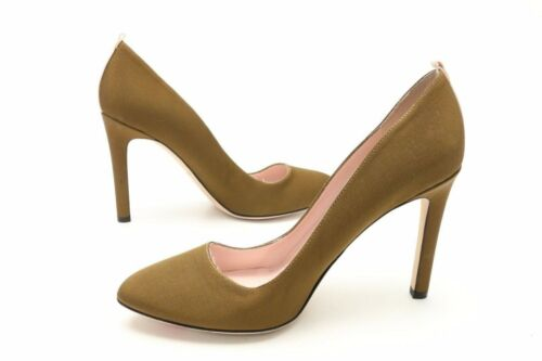 SJP Fawn Womens Olive Green Satin Slip On Classic Heels Pumps Shoes Size 39