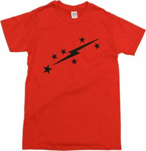 Sweet Glam Rock S-XXL 1970/'s Lightning Bolt /& Stars Red T-Shirt Retro