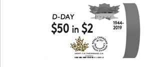 25 coins 2019 D-Day FULL NO-COLOR Special Wrap ROLL Canada Coin Toonie $2 UNC