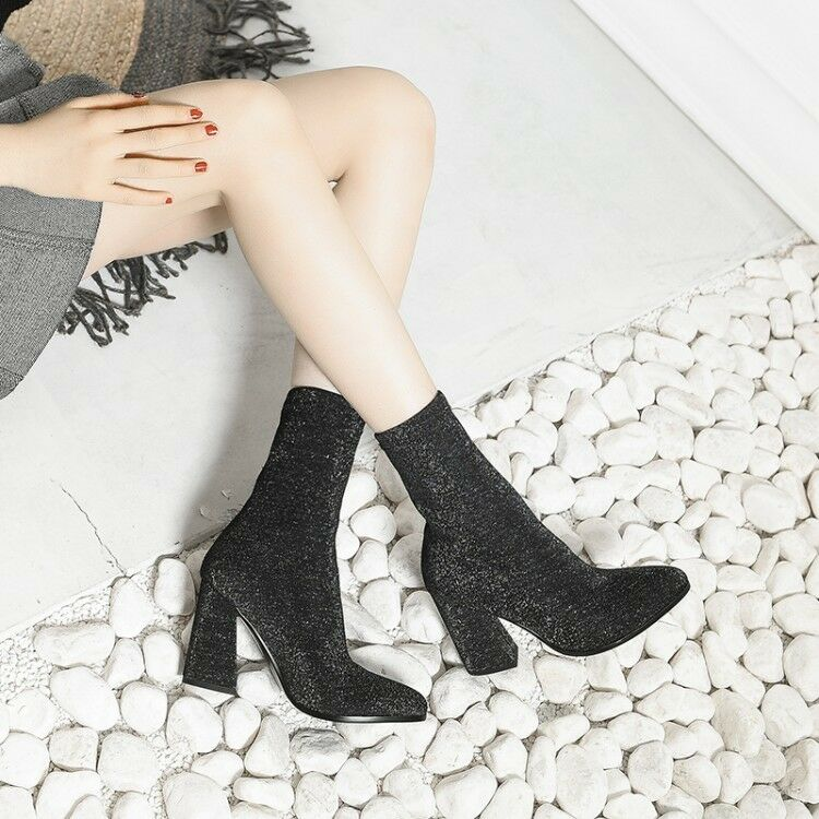 Women Round Toe Block Heels Slip On Ankle Boots Suede Stretchy Winter shoes b83