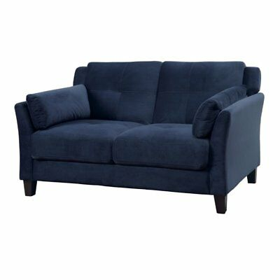 Furniture of America Trevon Tufted Fabric Loveseat in Navy