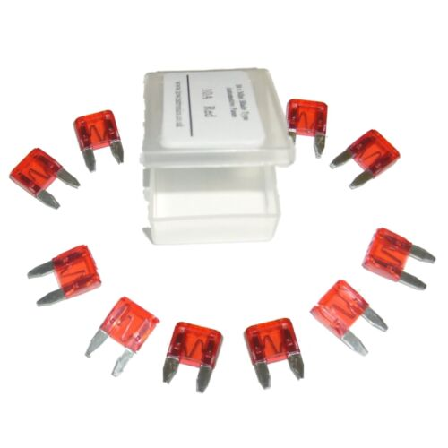 Automotive X 10 RED Motorbike Car 10A Motorcycle Mini Blade Type Fuses