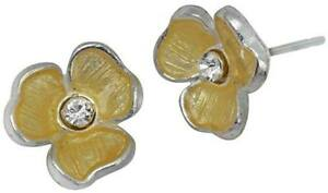 NEW-PILGRIM-DENMARK-SILVER-EARRINGS-CLEAR-SWAROVSKI-CRYSTALS-GOLD-ENAMEL-FLOWERS