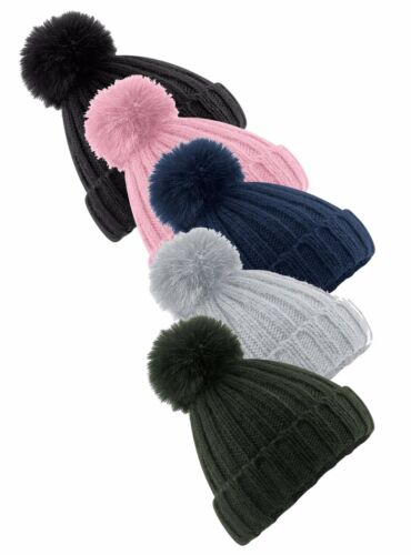 GREEN GREY PINK BLACK BLUE Soft Touch Acrylic Removeable Fur Pom Pom Ski Hat