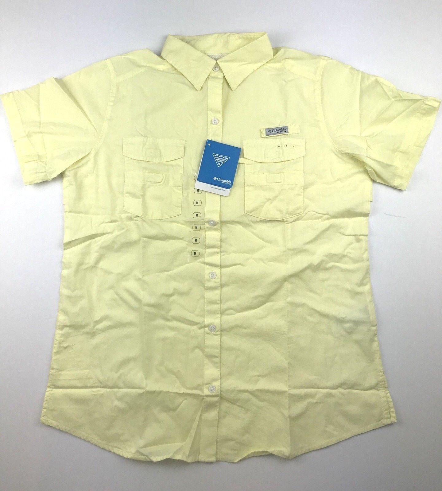 Columbia PFG Womens Medium Bonehead ll Yellow Short Sleeve Casual Button Shirt
