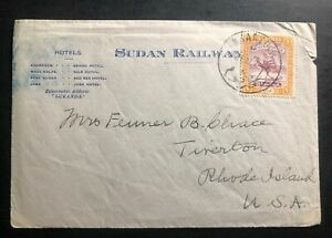 1937-Khartoum-Sudan-Railways-Travel-Cover-To-Tiverton-RI-USA