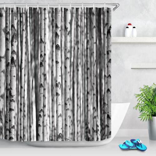 Black /& White Birch Trees Shower Curtain Set Polyester Waterproof Fabric Hooks