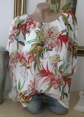 Italy mousseline chemisier 2 plis fleuris tunique Bund oversize fleurs rose 42 44 46