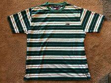 VTG 90s Tommy Jeans Tommy Hilfiger FLAG Green/White STRIPED T-Shirt Adult Sz L