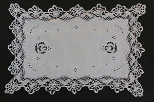 Pretty-white-linen-tray-cloth-with-white-embroidery-cutwork-and-crochet-edges
