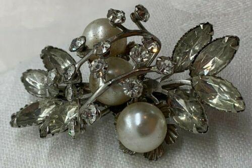 Marquise Diamond Rhinestone Synthetic Pearl Silve… - image 1