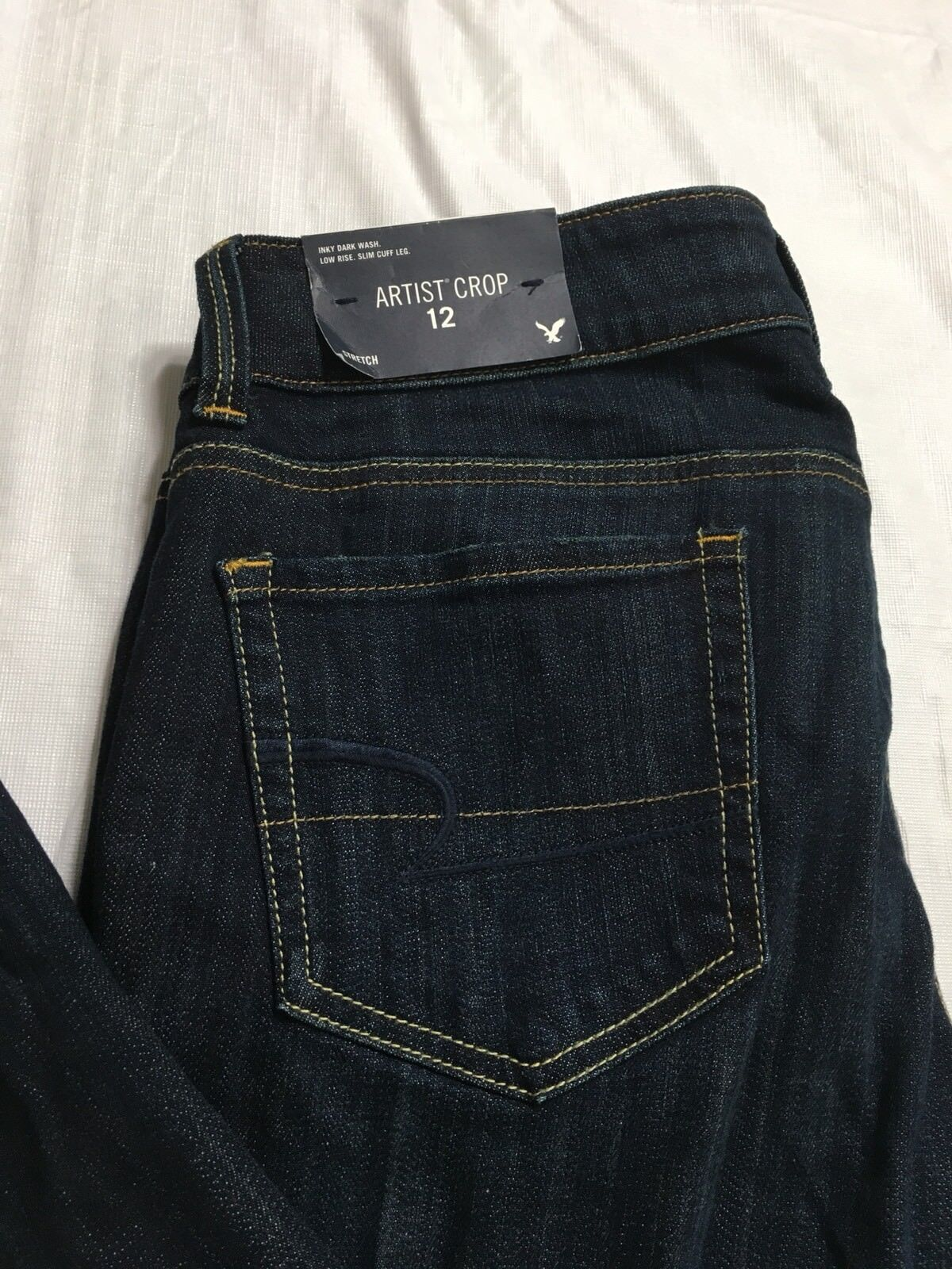 American Eagle AEO Artist Crop Jeans 12 Reg Low Rise Stretch Slim Cuff Straight