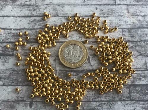 100 Gold Spacer Beads 3mm Small Plated Ball Spacers Jewellery Making Supply BULK