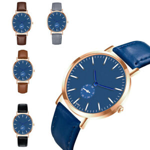 Mens-Quartz-Casual-Watch-Analog-Stainless-Steel-Blue-Dial-Fashion-Wrist-Watch