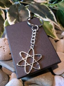 Handmade-Atom-Silver-Plated-Keyring-bag-Charm-Dad-Father-Gift-Gift-Boxed