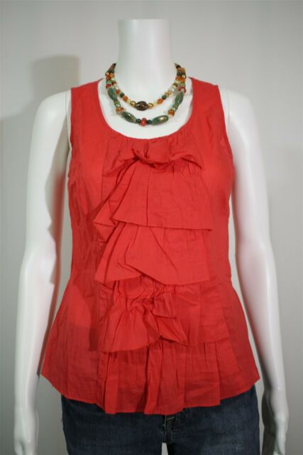 Anthropologie Fei Misses 2 Coral Pink Ruffled Tank Top Shirt