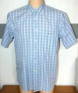 Hommes-Lacoste-chemise-authentique-s-manches-bleu-blanc-carreaux-boutonnee-L-Pit-Pit-23-034