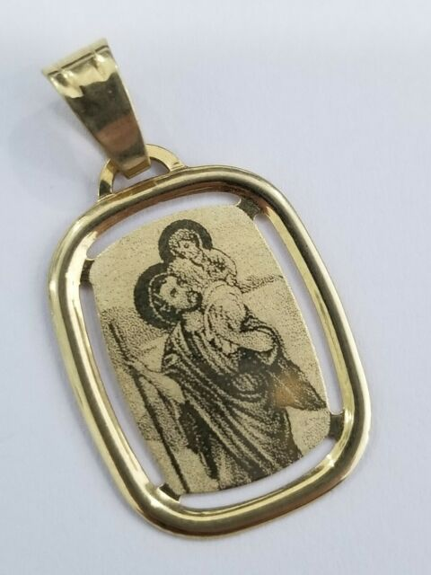 Clearance Real Italian 14k Yellow Gold Religious St Jude Saint Charm Pendant 585