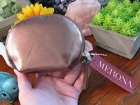 Merona Copper Leather Look Make-up Bag Change Purse Zippered W/ Tassel Pull