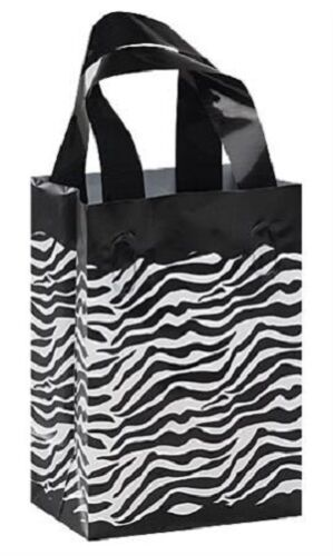 """Plastic Bags Zebra Print 100 Small Gift Frosty Black White 5/"""" x 7/"""" x 3/"""" Frosted"""