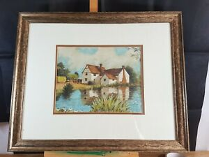 WILLY-LOTT-039-S-COTTAGE-FLATFORD-SUFFOLK-MIXED-MEDIA-PAINTING-UNSIGNED