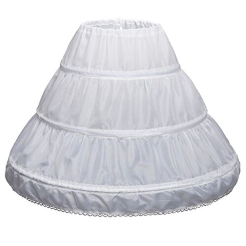 Weiß Kinder Petticoat A-Linie 3 Reifen Eine Schicht Kinder Krinoline Spitze Y2T3