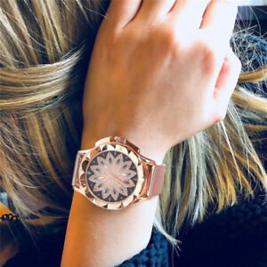 Rose-Gold-Crystal-Flower-Women-Watches-Ladies-Quartz-Stainless-Steel-Mesh-Watch