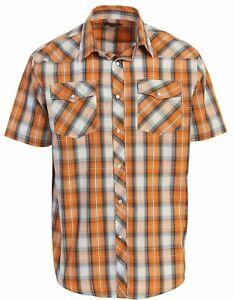Men-039-s-Western-Plaid-Short-Sleeve-Cowboy-Pearl-Snap-Shirt-Size-S-5XL-Rodeo-Shirt