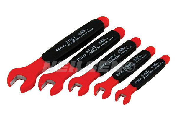 5pc VDE Insulated Open Jaw Wrench Set  1000V 7-14mm For Hybrid Electricians 3945