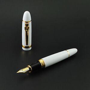 Promotion-Jinhao-159-General-White-Fountain-Pen-Golden-Clip-Medium-Nib