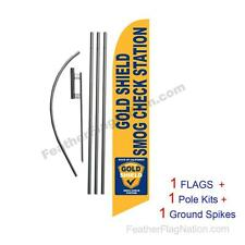 Smog Check Gold Shield 15' Feather Banner Swooper Flag Kit with pole+spike