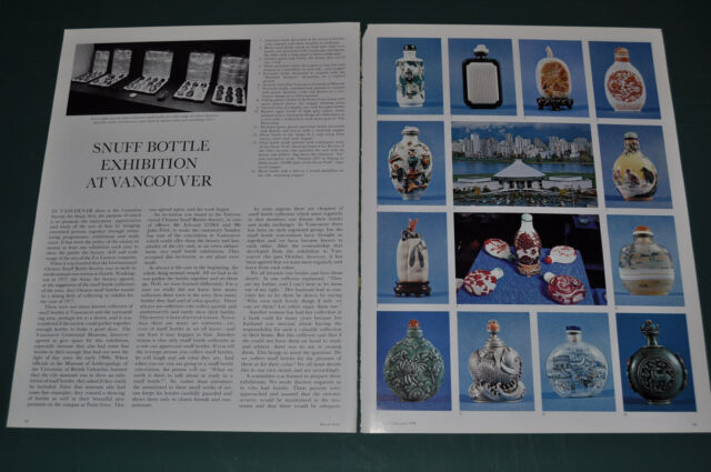 1978 magazine article about Chinese SNUFF BOTTLE Exhibition, Vancouver, photos