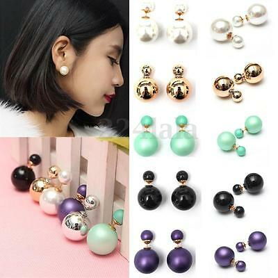 Celebrity Runway Double Pearl Beads Plug Ear Studs Earrings Pin Bubble Jewellery