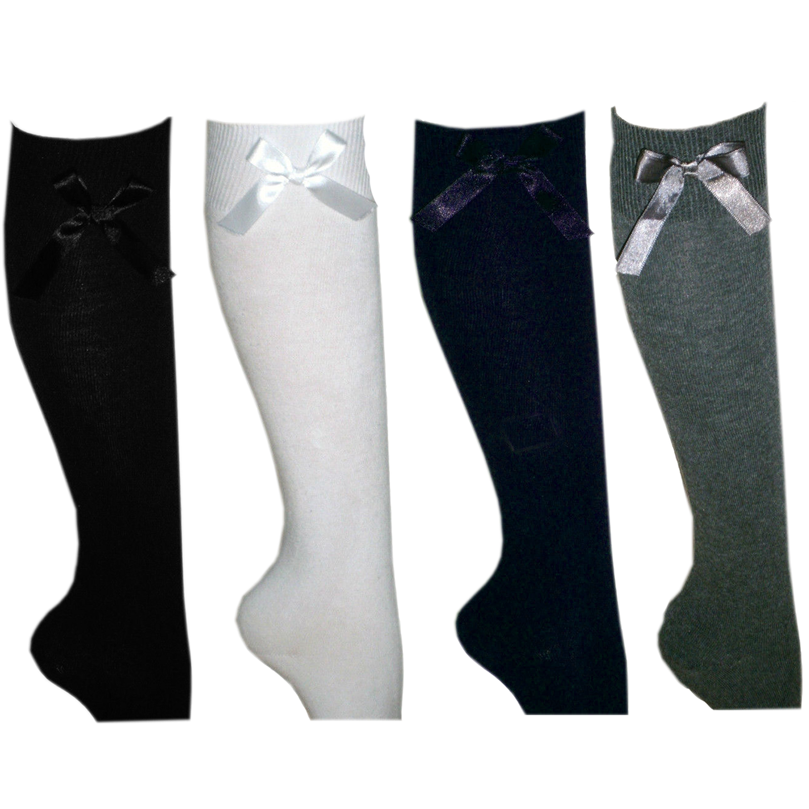 New Girls Fashion Cotton Knee High Children Kids Back to School Socks 6-9-12