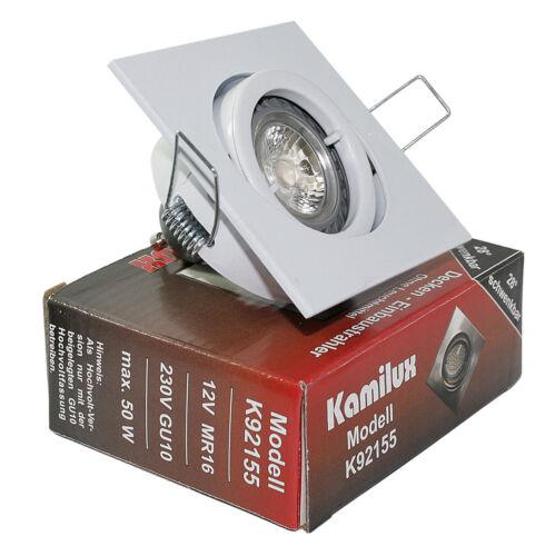 230V LED 7W = 52Watt Deckenleuchte eckig quadratisch GU10 Leuchtmittel Hochvolt