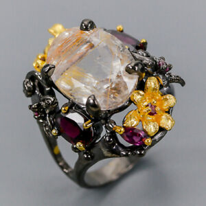 Rutilated Quartz Ring Silver 925 Sterling Special Sale Price Size 9 /R138203