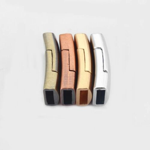 5 Sets 11x2.5mm Flat Polished Magnetic Clasp for 10mm Flat Leather Bracelet