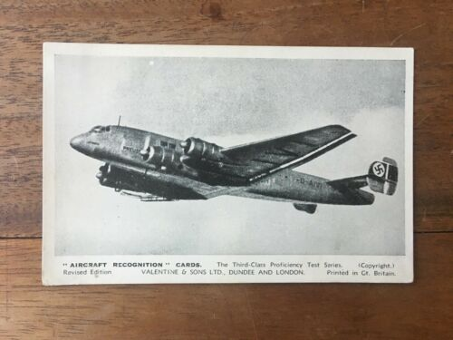 RARE WW2 VINTAGE RAF AIRCRAFT RECOGNITION SERIES JUNKERS JU 90B GERMAN F1P6