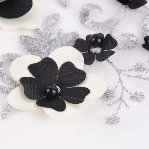 Stickerei-Tüll Perlen-Stoff mit Blumen und Perlen bestickt creme schwarz 1,5m B