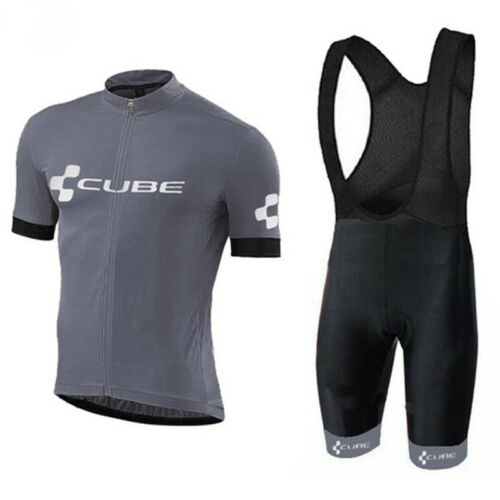 Gray Mens Cycling Jersey Bib Short Set Grey Color Mens Cycling Jersey Shorts Set