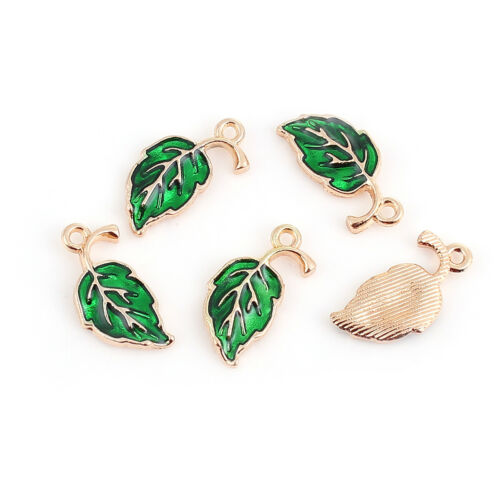 10 Gold Plated Leaf Shaped Charm Pendants with Green Enamel Detail