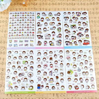 Cute 6 Sheet Cartoon Girl Calendar Diary Planner Sticker Biscuit Scrapbook Decor