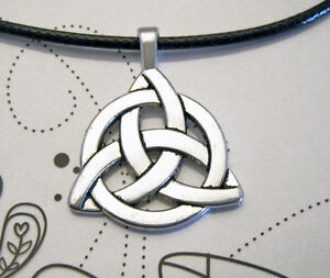 Antique-Silver-Plated-Celtic-Knot-Charm-Pendant-Black-Leather-Ette-Necklace