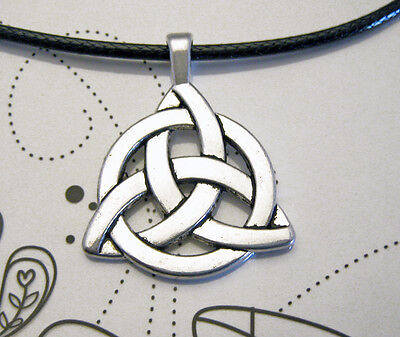 Antique Silver Plated Celtic Knot Charm Pendant Black Leather-Ette Necklace